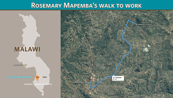Rosemary Mapemba's daily walk to Neno District Hospital